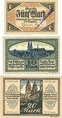 Billets Halberstadt. Stadt. Billets. 5, 10, 20 mark 1.12.1918, annulation par cachet ENTWERTET