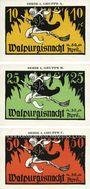 Billets Kahla. Leuchtenburg-Wirtschaft. Série de 3 billets. 10, 25, 50 pf, 1ère série : Walpurgisnacht