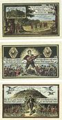 Billets Kahla. Stadt. Série de 3 billets. 25 pf, 50 pf, 75 pf 15.8.1921, série Muck