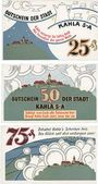 Billets Kahla. Stadt. Série de 3 billets. 25 pf, 50 pf, 75 pf 15.8.1921, série porcelaine