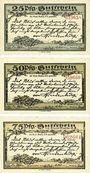 Billets Kahla. Stadt. Série de 3 billets. 25 pf, 50 pf, 75 pf 15.9.1921, série Hindenbourg II