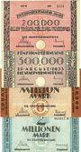 Billets Kaiserslautern. Stadt. Billets. 200000, 500000, 1, 2 millions mark 15.8.1923