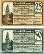 Billets Kamen. Stadt. Billets. 25 pf, 50 pf 1.4.1920