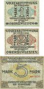 Billets Kattowitz (Katowice, Pologne). Stadt. Série de 3 billets. 1, 2, 5 mark 16.3.1921