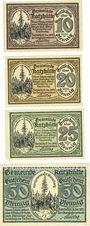Billets Katzhütte. Gemeinde. Série de 4 billets. 10 pf, 20 pf, 25 pf, 50 pf 15.12.1920