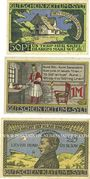 Billets Keitum / Stylt. Gemeinde. Billets. 50 pf, 1 mark, 2 mark 15.4.1920