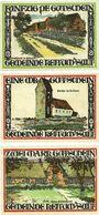 Billets Keitum / Stylt. Gemeinde. Série de 3 billets. 50 pf, 1 mark, 2 mark 1.9.1921