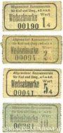 Billets Kiel. Allgemeiner Konsumverein für Kiel und Umg. e.G.m.b.H. Billets. 1 pf, 2 pf, 5 pf, 10 pf