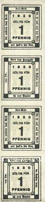 Billets Kitzingen, Städtische Sparkasse, bande de 4 billets, 1 pf 1920, type sans filigrane
