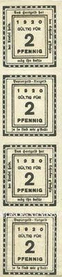 Billets Kitzingen, Städtische Sparkasse, bande de 4 billets, 2 pf 1920, type sans filigrane