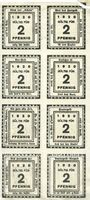 Billets Kitzingen, Städtische Sparkasse, série cmplète de 8 billets, 2 pf 1920, type sans filigrane