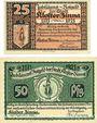 Billets Kloster Zinna. Stadt. Série de 2 billets. 25 pf, 50 pf 7.9.1920