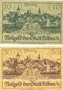 Billets Köben (Chobienia, Pologne). Stadt. Billets. 10 pf, 50 pf 24.12.1920