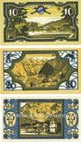 Billets Königssee. Gemeinde. Série de 3 billets. 10 pf, 20 pf, 25 pf 26.3.1921
