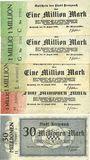 Billets Kreuznach, Stadt, billets, 1 million mk série C, G, L, 5 millions mk série F, 30 millions mk série H