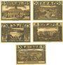 Billets Lähn (Wlen, Pologne). Städtische Sparkasse. Billets. 25 pf, 50 pf, 75 pf, 1 mk, 1,50 mk (1922)