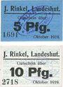 Billets Landeshut (Kamienna Gora, Pologne), J. Rinkel, billets, 5 pf, 10 pf oct 1919