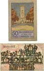 Billets Landsberg am Lech, Stadt, billets, 50 pf juillet 1918, 50 pf janvier 1921