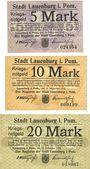 Billets Lauenburg i. P. (Lebork, Pologne), Stadt, série de 3 billets, 5, 10, 20 mark 15.11.1918