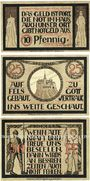Billets Lauenstein. Gemeinde. Série de 3 billets. 10 pf, 25 pf juin 1921, 50 pf n. d.