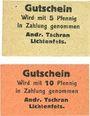 Billets Lichtenfels a. Main, Andr. Tschran, billets, 5 pf, 10 pf
