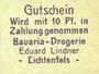 Billets Lichtenfels a. Main, Eduard Lindner, Bavaria-Drogerie, billet, 10 pfennig (1920)