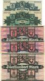 Billets Liebenwerda, Kreis, billets, 100 mk sans série + série C, 500 mk sans série (2ex)+ série B 16.9.1922