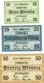 Billets Liebenwerda, Stadt, série de 3 billets, 10 pf, 25 pf, 50 pf (1920)