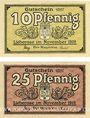 Billets Lieberose, Stadt, billets, 10 pf , 25 pf nov 1919