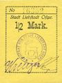 Billets Liebstadt (Wilczkowo, Pologne). Stadt. Billet. 1/2 mark (1916-1922)