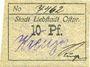 Billets Liebstadt (Wilczkowo, Pologne), Stadt, billet, 10 pf (1916-1922)