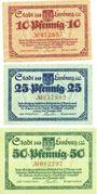 Billets Limburg a. d. Lahn, Stadt, série de 3 billets, 10 pf, 25 pf, 50 pf 1.11.1918
