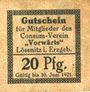 Billets Lössnitz i. Erzgeb., Consum- Verein Vorwärts, billet, 20 pf n. d. - 30.6.1921