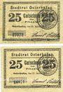 Billets Osterhofen. Stadt. Billets. 25 pfennig (2 ex) 27.1.1917