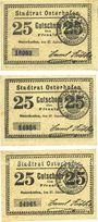 Billets Osterhofen. Stadt.  Billets. 25 pfennig (3 ex) 27.1.1917