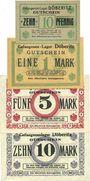 Billets Allemagne. Döberitz. Gefangenenlager. Billets. 10 pf, 1 mk, 5 mk, 10 mk n.d.