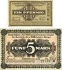 Billets Allemagne. Frankfurt. Inspektion der KGL im Bereich des XIII. Armeekorps Billets 1 pf, 5 mk 1.6.1917