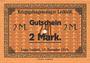 Billets Allemagne. Lechfeld. Kriegsgefangenenlager. Billet. 2 mk 15.11.1915. Signature imprimée en noir /dos