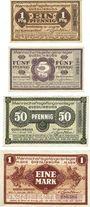 Billets Allemagne. Quedlinburg. Mannschafts-Gefangenenlager. Billets. 1, 5, 50 pfennig, 1 mark déc 1916