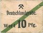 Billets Schwientochlowitz (Swietochlowice, Pologne). Deutschlandgrube. Billet. 10 pf n.d., cachet rouge