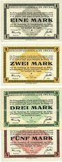 Billets Zwickau. Kriegsgefangenenlager. Série de 4 billets. 1 mark,  2 mark, 3 mark, 5 mark 1.1.1916