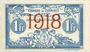 Billets Algérie. Chambre de Commerce d'Oran. Billet. 1 franc 10.11.1915, surchargé 1918
