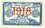 Billets Algérie. Chambre de Commerce d'Oran. Billet. 50 cmes 10.11.1915 surchargé 1918