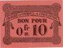 Billets Algérie. Chambre de Commerce de Constantine. Billet. 0,10 franc 12.10.1915