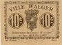 Billets Algérie. Ville d'Alger. Billet. 10 centimes 9.3.1917