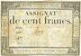 Billets Assignat. 100 francs. 18 nivôse an 3. Signature : Haze
