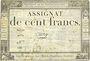 Billets Assignat. 100 francs. 18 nivôse an 3. Signature : Oudry
