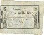 Billets Assignat. 2 000 francs. 18 nivôse an 3. Signature : Poullain