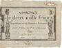 Billets Assignat. 2 000 francs. 18 nivôse an 3. Signature : Regnie