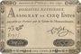 Billets Assignat. 5 livres. 1 novembre 1791. Signature : Corsel